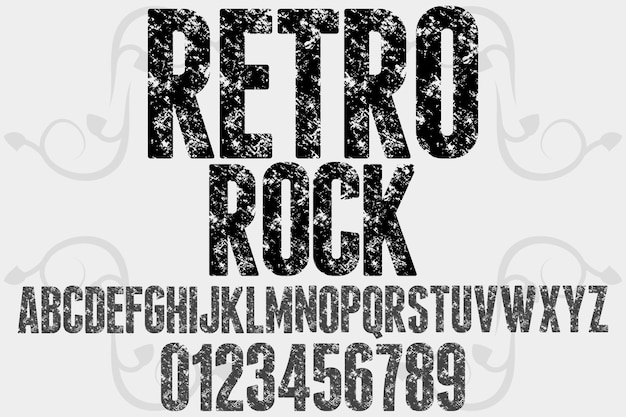 Tipografia retro rock design de fonte