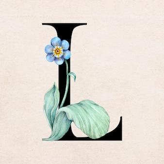 Tipografia romântica de fonte de letra l floral