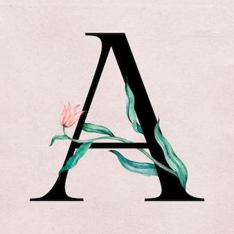 Tipografia romântica de fonte floral uma letra