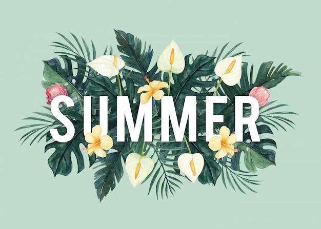 Tipografia simples de verão com flores exóticas