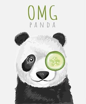 Tipografia slogan e mão desenhada bebê panda dos desenhos animados