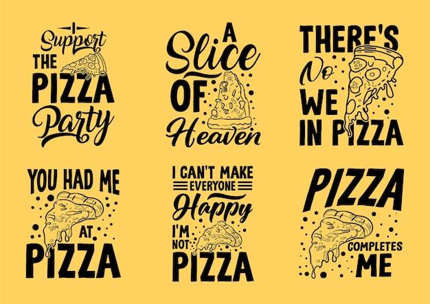 Tipografia sobre camisetas de pizza e merchandis