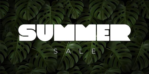 Tipografia summer sale com folhas tropicais realistas monstera