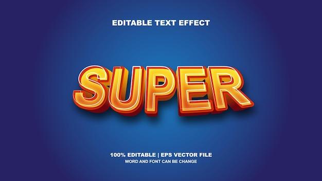 Tipografia super editável de vetor de efeito de texto 3d
