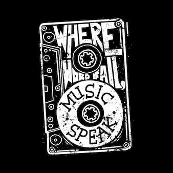 Tipografia texto citação música ilustração gráfica arte design de camiseta
