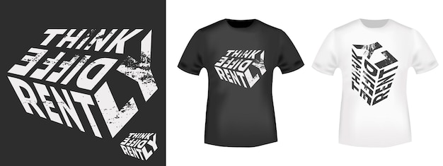 Tipografia think differently citar para carimbo de impressão de t-shirt