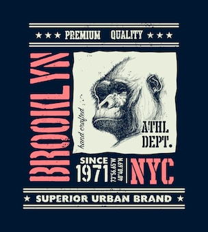 Tipografia urbana vintage com cabeça de gorila