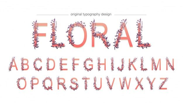 Tipografia vermelha floral abstrata