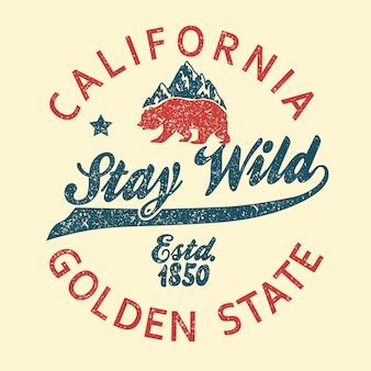 Tipografia vintage califórnia, impressão grunge urso pardo, design para t-shirt. emblema do golden state clothing.