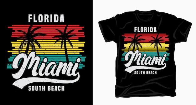 Tipografia vintage de florida miami south beach com camiseta palm