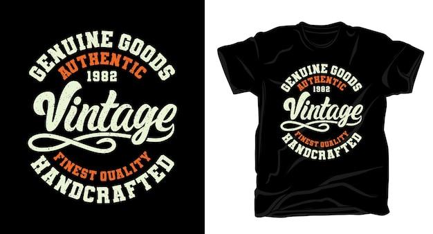 Tipografia vintage de produtos genuínos para design de camisetas