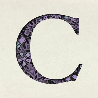 Tipografia vintage roxa letra c