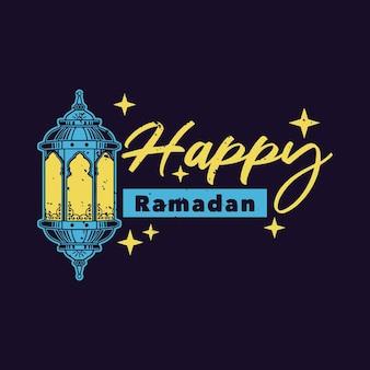 Tipografia vintage slogan feliz ramadã para design de merda