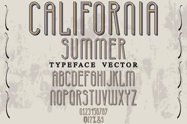 Tipografia vintage, tipografia, etiqueta, desenho, califórnia, verão