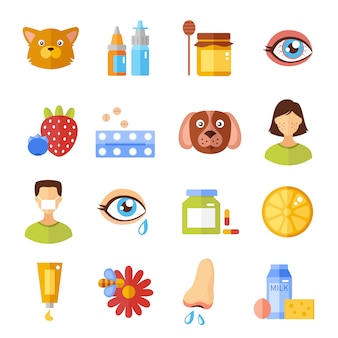 Tipos de alergia e ícones de causas