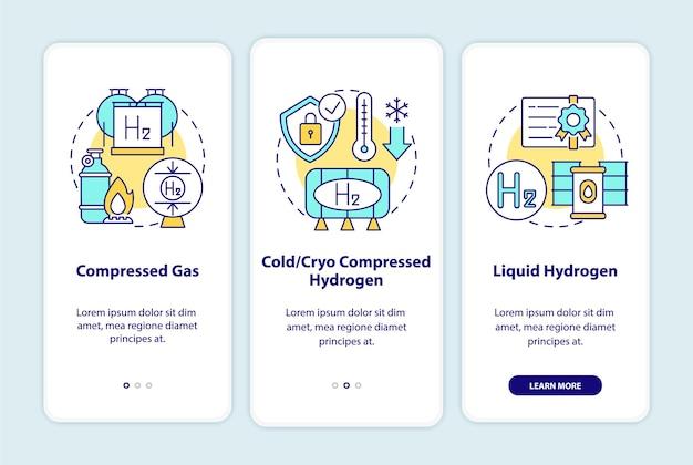 Tipos de armazenamento de hidrogênio na tela da página do aplicativo móvel de integração.