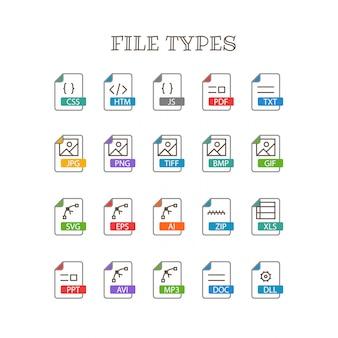 Tipos de arquivos diferentes conjunto de vetores de ícones de cores de linha fina