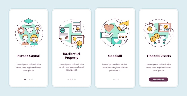 Tipos de ativos intangíveis que integram a tela da página do aplicativo móvel com ilustração de conceitos