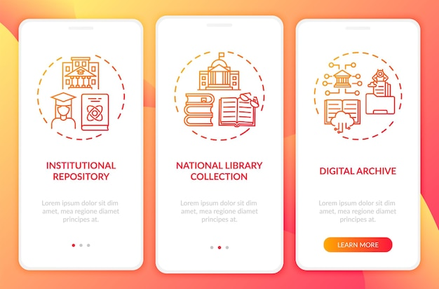 Tipos de bibliotecas digitais que integram a tela da página do aplicativo móvel com conceitos. passo a passo da coleção de livros do arquivo nacional 3 etapas. modelo de interface do usuário com ilustrações coloridas rgb
