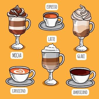 Tipos de café delicioso em canecas e copos