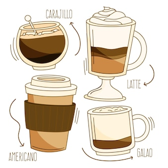 Tipos de café deliciosos em várias xícaras