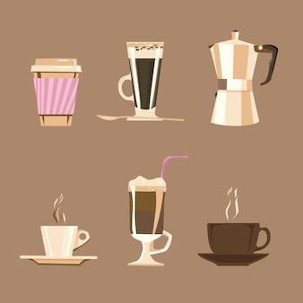 Tipos de café em xícaras e moedor