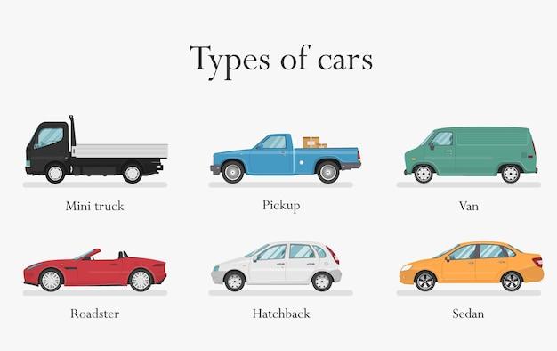 Tipos de carros. projeto de transporte sobre fundo branco, ilustração.