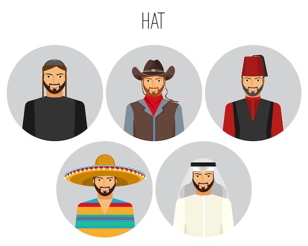 Tipos de chapéu para pôster de homem com conjunto tradicional de chapéus nacionais. sombrero e ghutra, keffiyeh e stetson, fez chapéu. acessórios para capacete