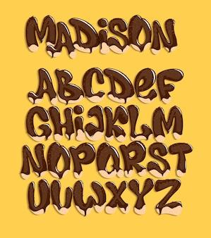 Tipos de chocolate derretendo, doce alfabeto, ilustração.