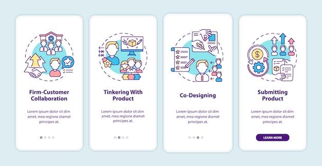 Tipos de co-criação de tela de página de aplicativo móvel com conceitos. colaboração empresa-cliente, etapas de acompanhamento de co-design. modelo de iu com cor rgb