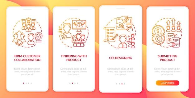 Tipos de co-criação integrando a tela da página do aplicativo móvel com conceitos. cooperação empresa-cliente, co-design passo a passo 4 etapas do modelo de iu com ilustrações coloridas rgb