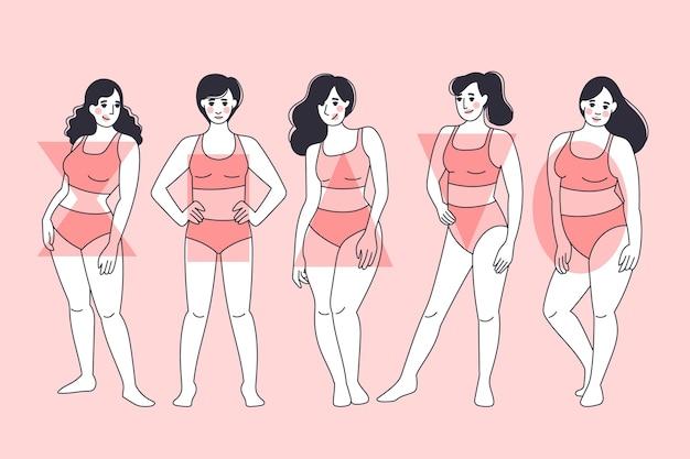 Tipos de coleção de formas do corpo feminino desenhados à mão