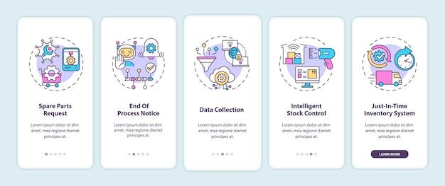 Tipos de comunicação m2m na tela da página do aplicativo móvel com conceitos. solicitação de peças sobressalentes, passo a passo de coleta de dados 5 etapas. modelo de iu com cores rgb