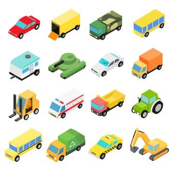 Tipos de conjunto de ícones isométrica de automóveis.