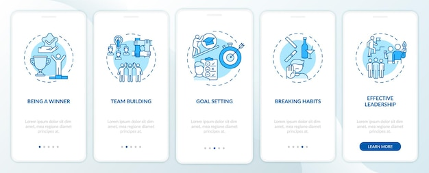 Tipos de conteúdo motivacional que integram a tela da página do aplicativo móvel com conceitos. aprendendo a quebrar hábitos passo a passo 5 etapas de instruções gráficas. modelo de interface do usuário com ilustrações coloridas rgb