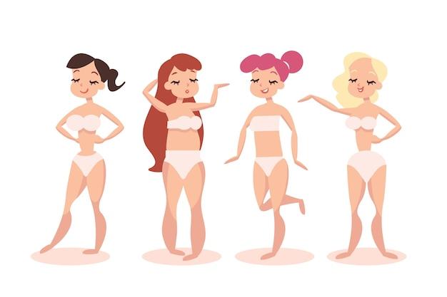 Tipos de design plano de formas do corpo feminino