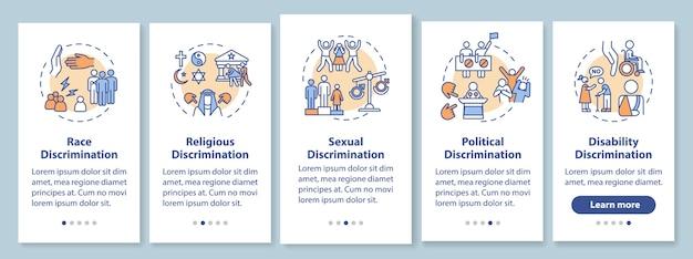 Tipos de discriminação na tela da página do aplicativo móvel com conceitos. preconceito racial e religioso. passo a passo com instruções gráficas. modelo de iu com ilustrações coloridas rgb
