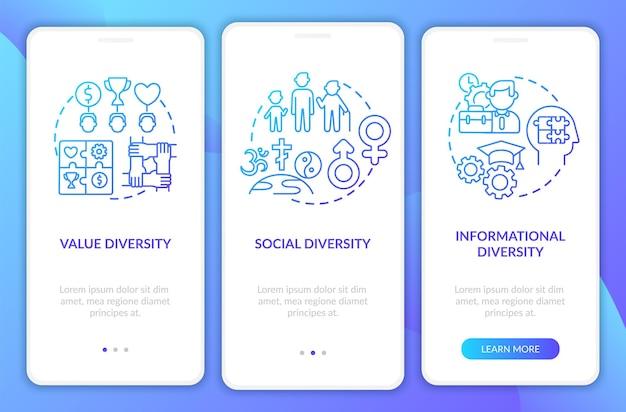 Tipos de diversidade da alta administração integrando a tela da página do aplicativo móvel com conceitos. tipos de diversidade percorrem 3 etapas. modelo de interface do usuário com ilustrações coloridas rgb