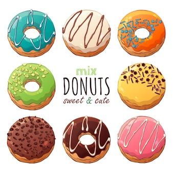 Tipos de donuts de vetor decorados com coberturas