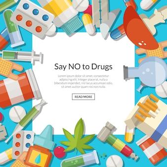 Tipos de drogas com quadrado branco e lugar para texto.