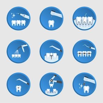 Tipos de exames dentários e conjunto de tratamento