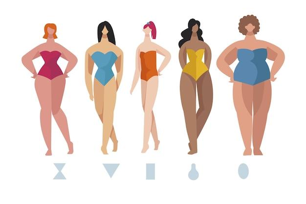 Tipos de formas do corpo feminino desenhados à mão plana