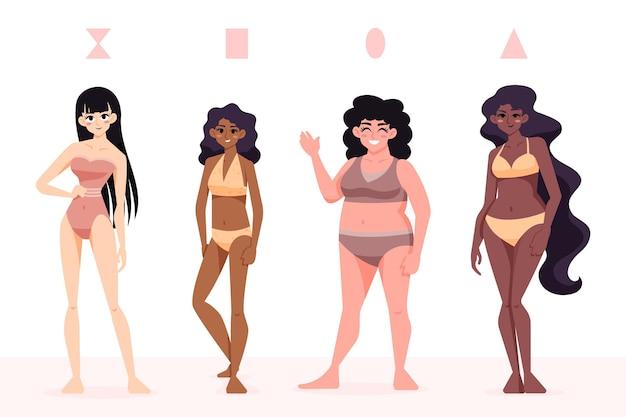 Tipos de formas do corpo feminino desenhados à mão