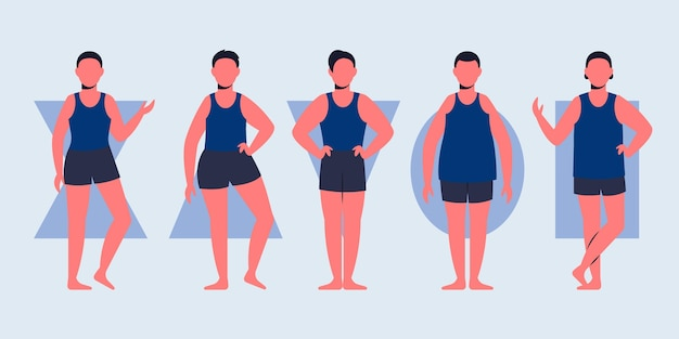 Tipos de formas do corpo masculino desenhados à mão plana