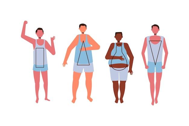Tipos de formas do corpo masculino desenhados à mão