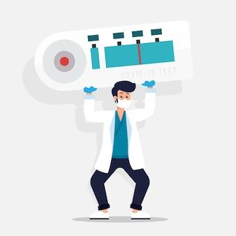 Tipos de homem de teste de coronavírus segurando um teste