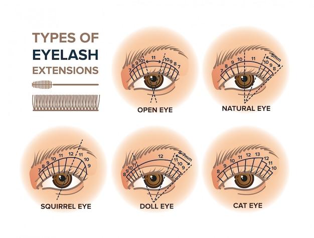 Tipos de ilustração de extensões de cílios