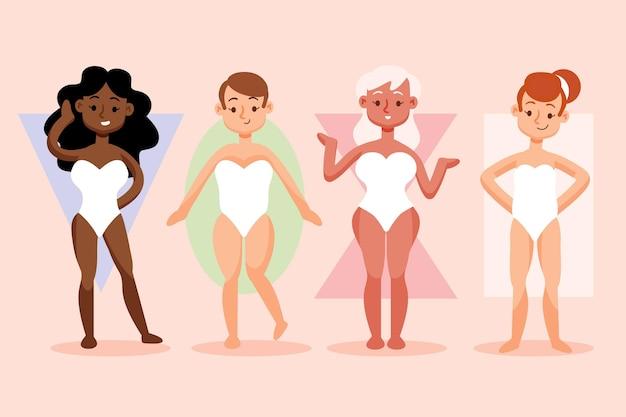 Tipos de ilustrações desenhadas à mão de formas do corpo feminino