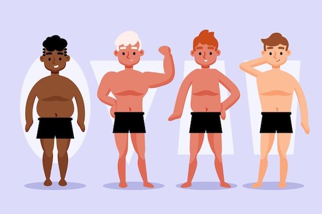 Tipos de ilustrações desenhadas à mão de formas do corpo masculino