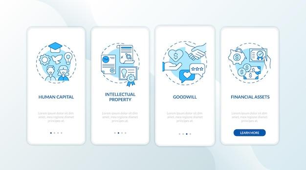 Tipos de investimentos intangíveis que integram a tela da página do aplicativo móvel com conceitos